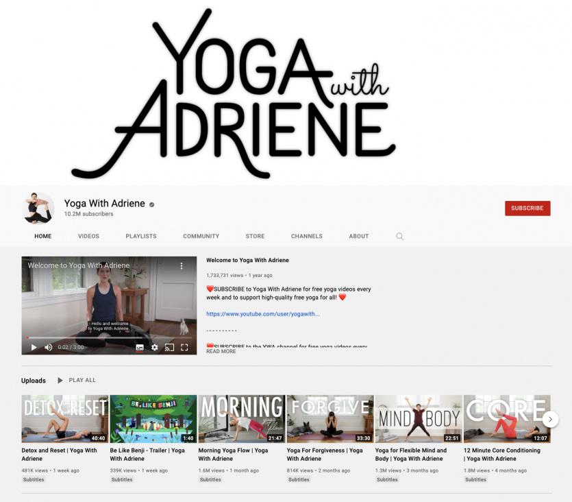 Adriene youtube channel