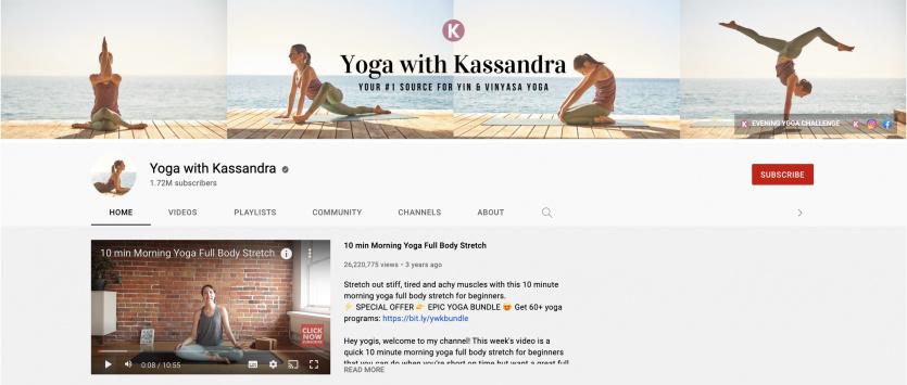 Yoga With Kassandra youtube channel