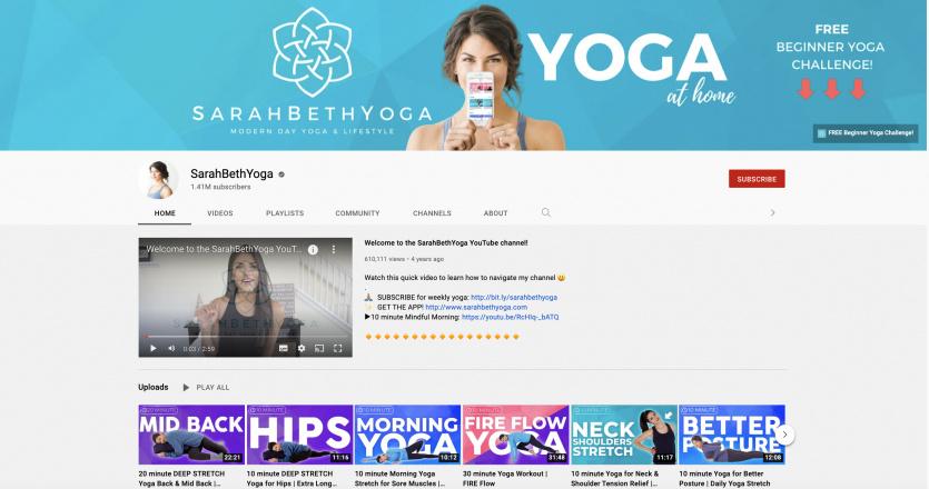 Sarah Beth Yoga Youtube Channel